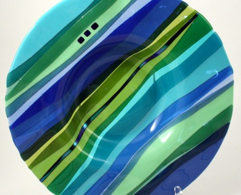 Large rippled fused glass bowl