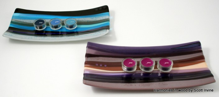 Oblong candle dishes