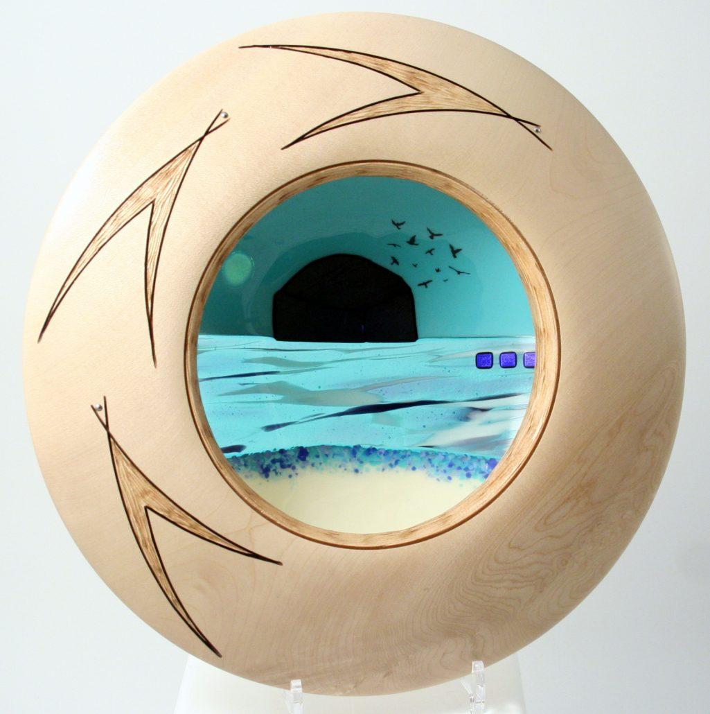 Medium wide rimmed fused glass bowl