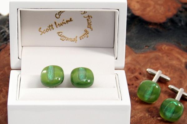 Fused Glass Cufflinks - Green
