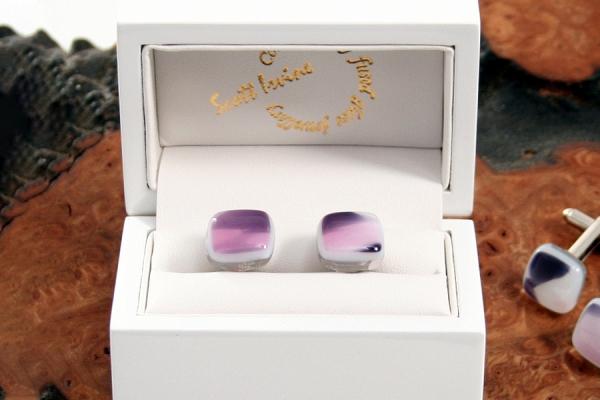Fused Glass Cufflinks Purple