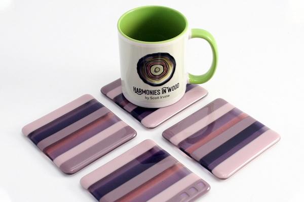 Purple Fused Glass Coasters - Set of 4