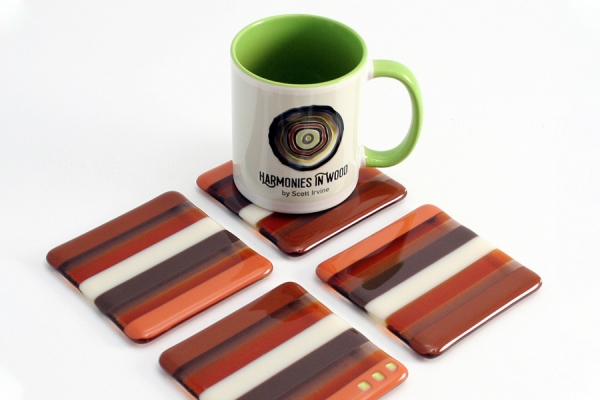 Fused Glass Coasters 4 pack Brown and Cream