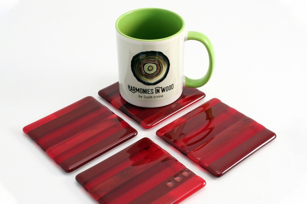 Fused Glass Coasters 4 pack Red
