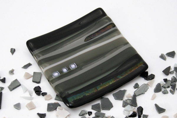 Small Fused Glass Dish - Black_Grey