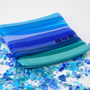 Small Fused Glass Dish - Blue