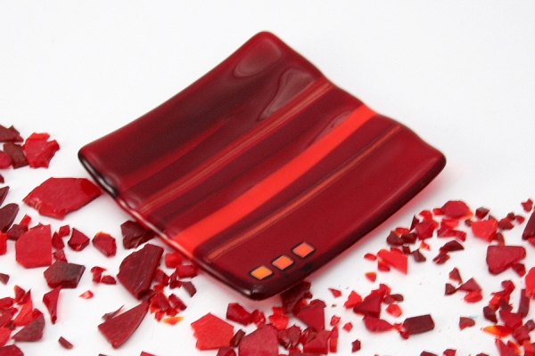 Small Fused Glass Dish Red