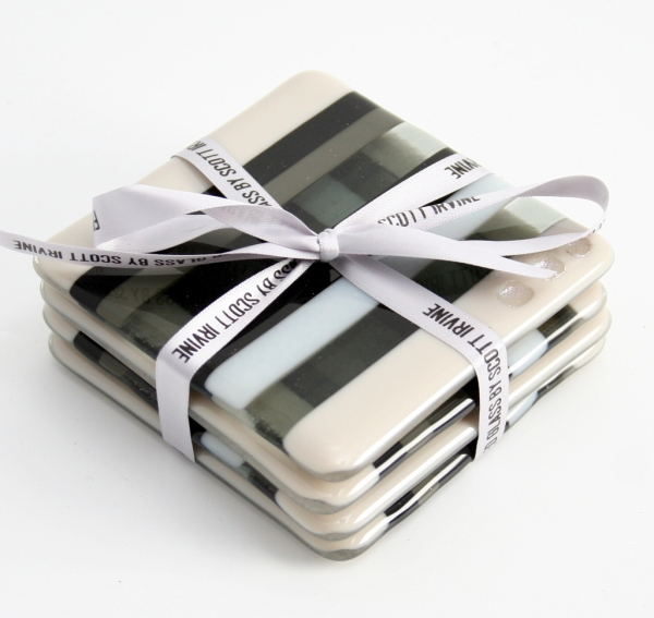 Fused Glass Coasters Black and White