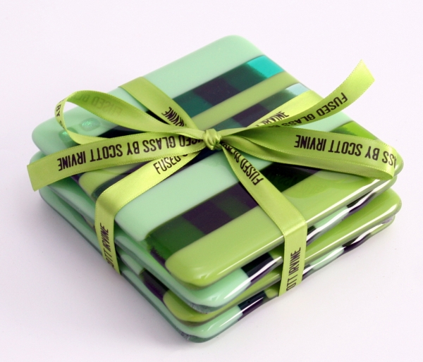 Fused Glass Coasters Greens